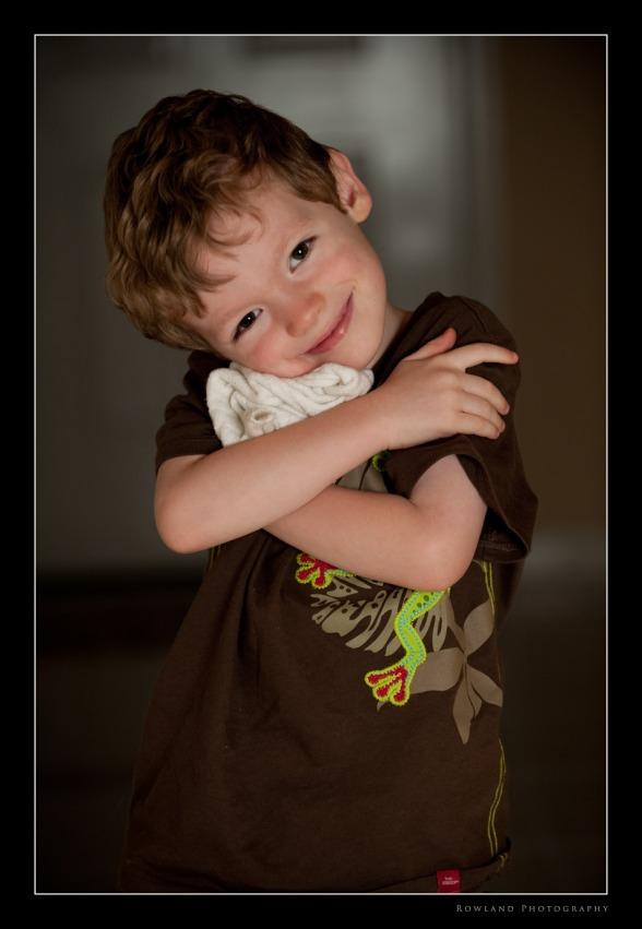 Aidan Hugging Blankie